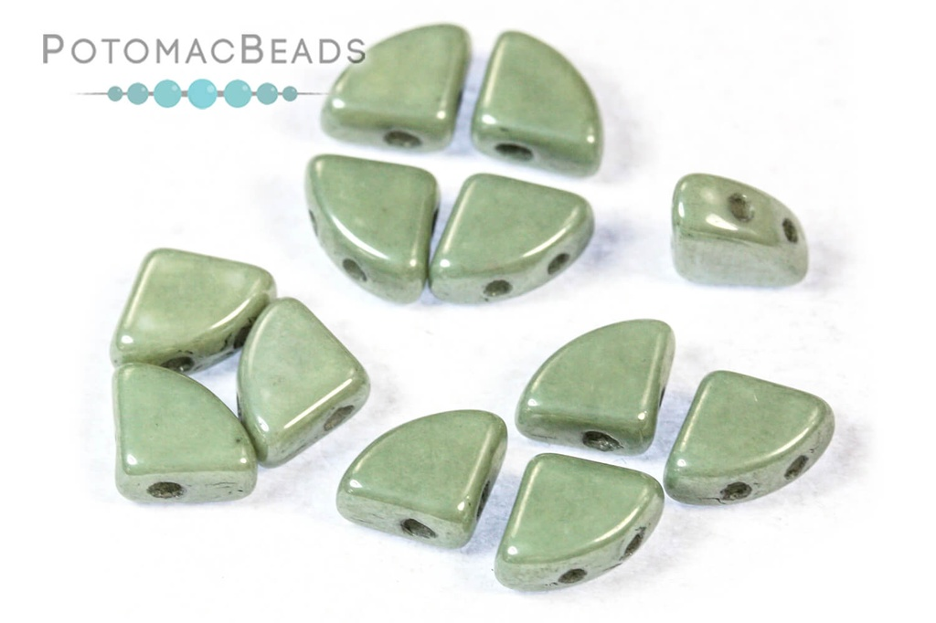 PieDuo Beads - White Teal Luster