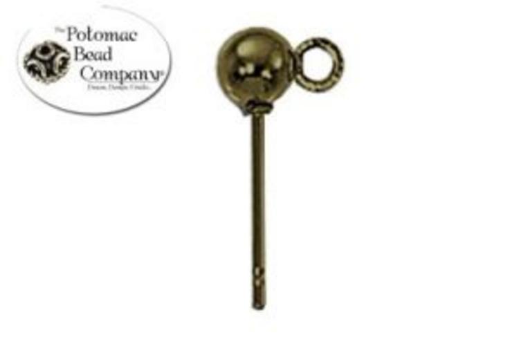 Ball Post 4mm Antique Brass