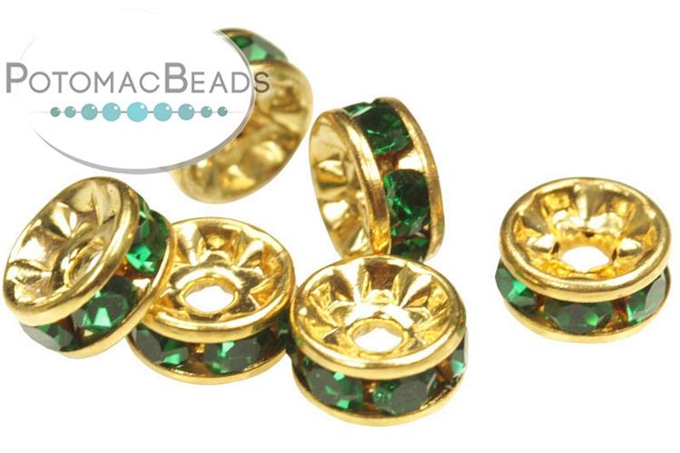 Crystal Rhinestone Rondelle Spacer - Emerald Gold 6mm