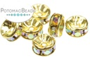 Crystal Rhinestone Rondelle Spacer - Crystal AB Gold 6mm