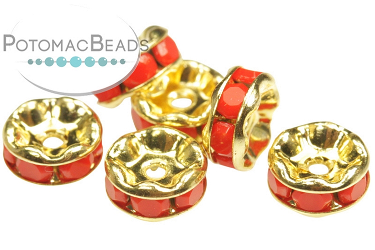 Crystal Rhinestone Rondelle Spacer - Coral Gold 6mm