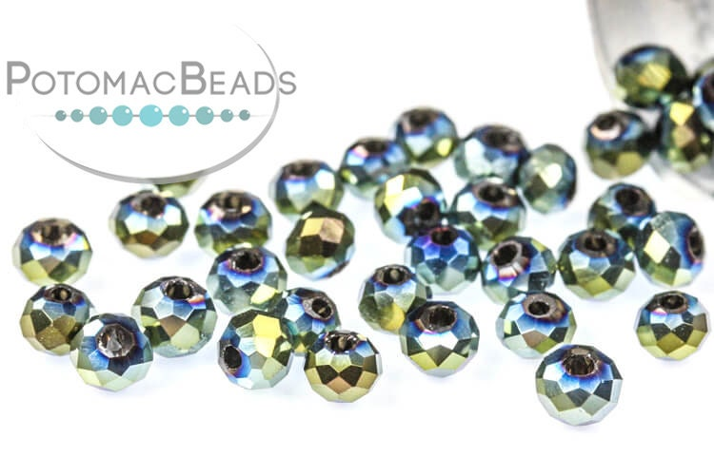Potomac Crystal Rondelle Beads - Metallic Green Iris 2x3mm
