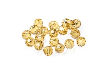 [32901] Potomac Crystal Round Beads - Gold Champagne 4mm