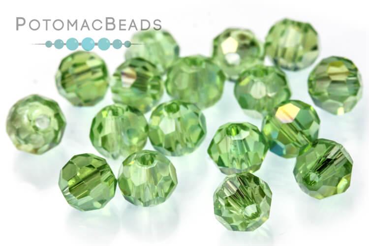 Potomac Crystal Round Beads - Light Peridot AB 4mm