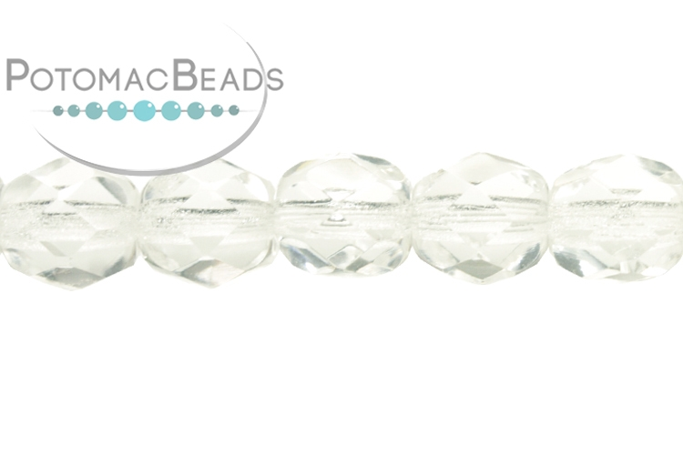 Czech Faceted Round Beads - Crystal 6mm