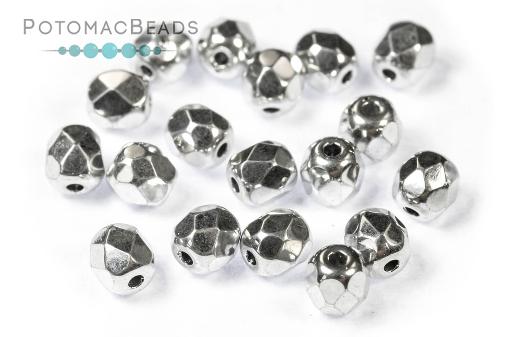 Czech Faceted Round Beads - Crystal Labrador 4mm