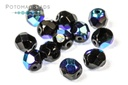 Czech Faceted Round Beads - Jet AB 6mm