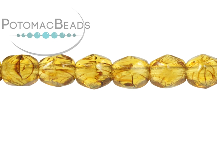 Czech Faceted Round Beads - Tortoise 4mm
