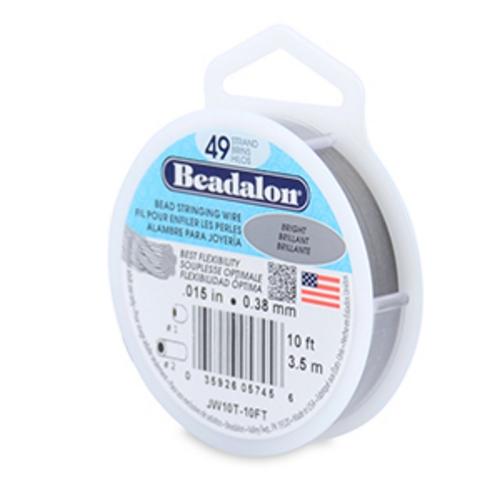 "Beadalon 49 Strand Wire Bright .015"" - 10 Foot Spool"