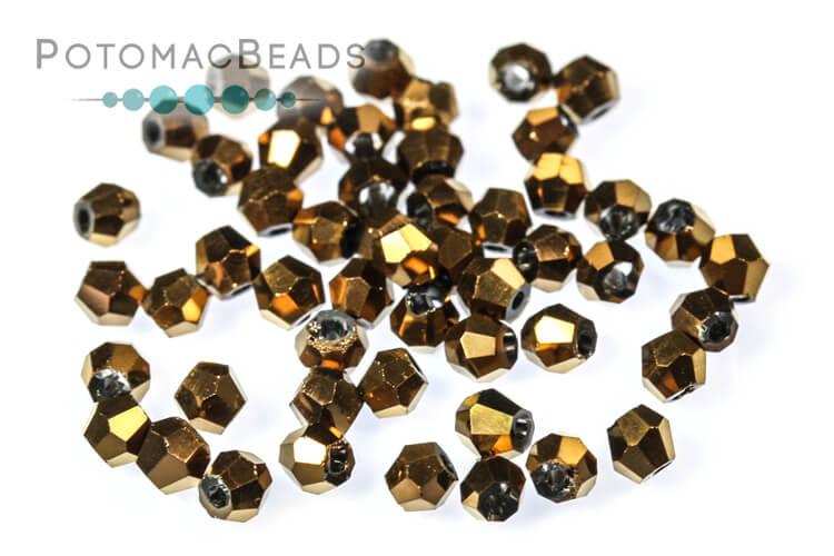 Potomac Crystal Bicones - Metallic Bronze Iris 2mm