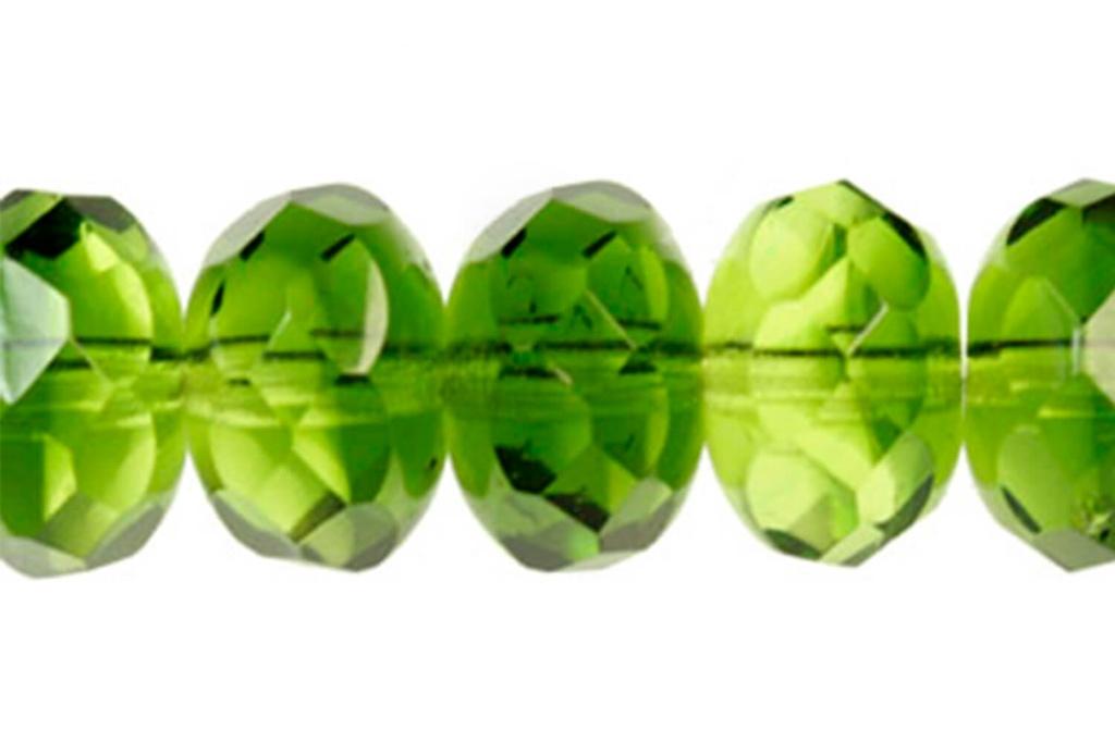 Czech Faceted Rondelle Beads - Light Green 9mm
