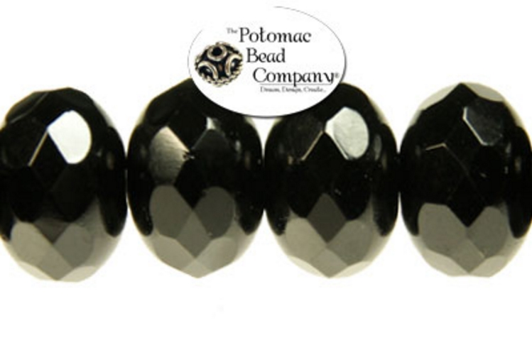 Czech Faceted Rondelle Beads - Jet 9x14mm