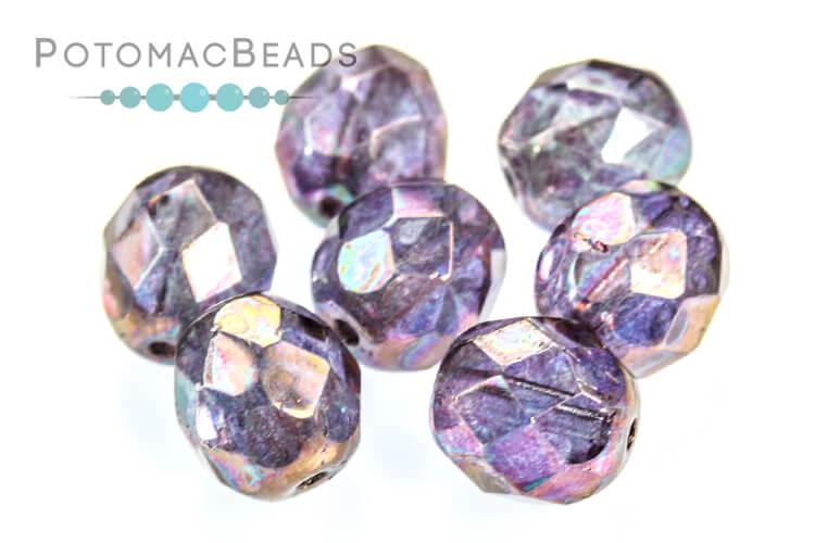 Czech Faceted Round Beads - Iris 8mm