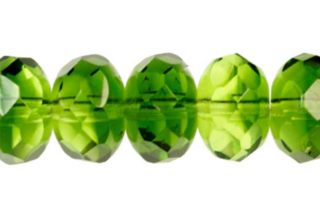 Czech Faceted Rondelle Beads - Peridot Emerald 7x11mm