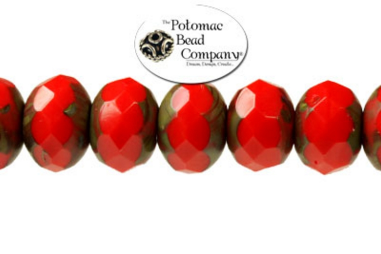 Czech Faceted Rondelle Beads - Red 6x9mm