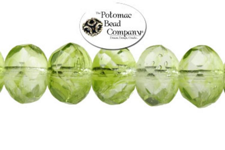 Czech Faceted Rondelle Beads - Light Peridot 6x9mm