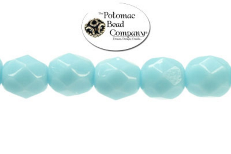 Czech Faceted Round Beads - Turquoise 6mm