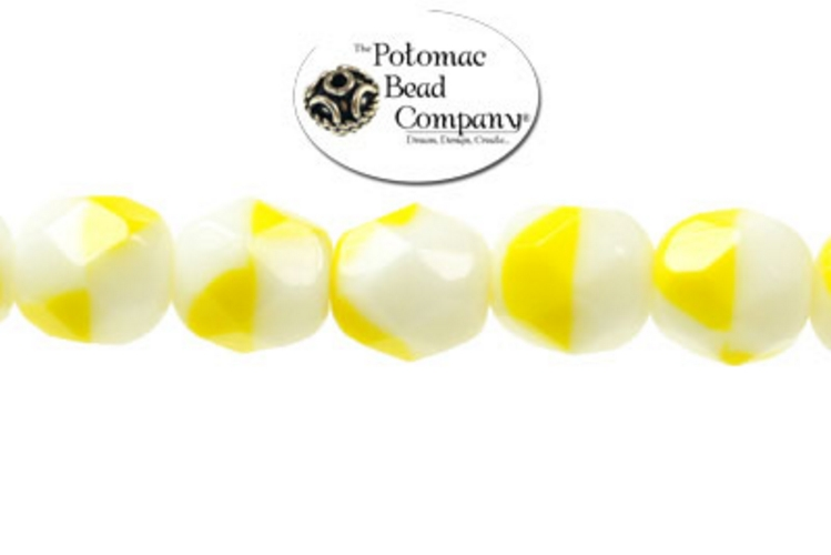 Czech Faceted Round Beads - Yellow and White 6mm