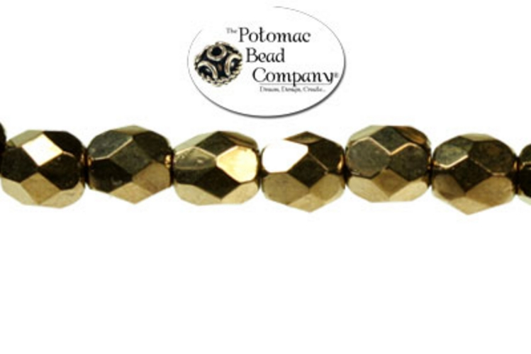 Czech Faceted Round Beads - Bronze 4mm
