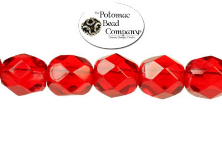 Czech Faceted Round Beads - Ruby 6mm