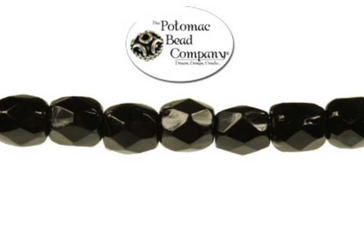 Czech Faceted Round Beads - Jet 3mm
