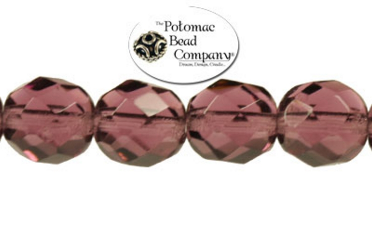 Czech Faceted Round Beads - Amethyst 8mm