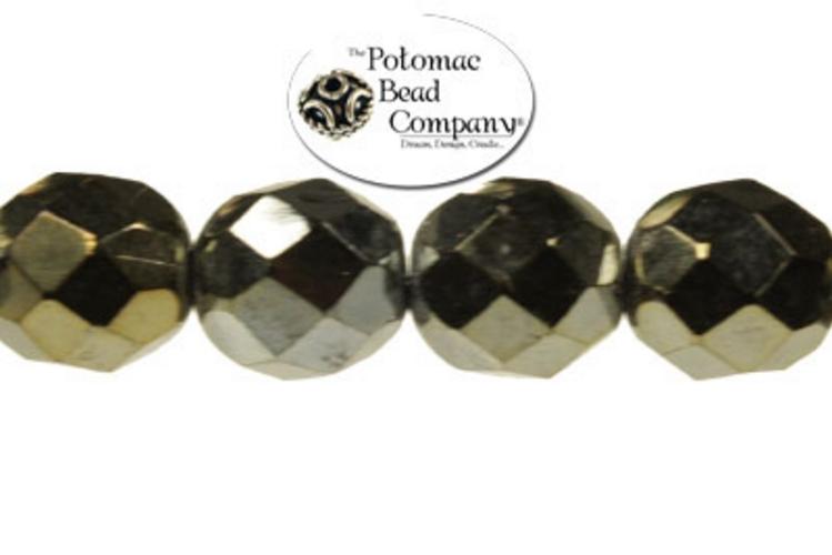 Czech Faceted Round Beads - Brown Iris 8mm