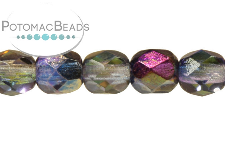 Czech Faceted Round Beads - Magic Blue 6mm