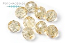Czech Faceted Round Beads - Crystal Champagne Luster 8mm