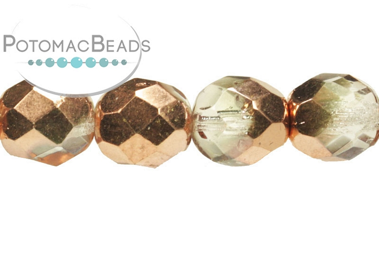 Czech Faceted Round Beads - Crystal Capri Gold 8mm (closeout)