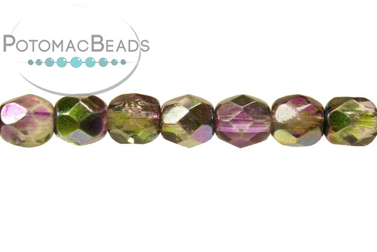 Czech Faceted Round Beads - Magic Orchid 3mm
