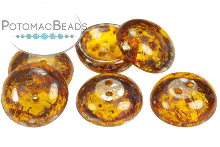 Cup Buttons - Amber Picasso (5 pack)