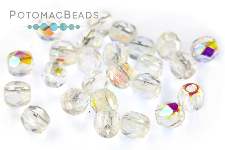Czech Faceted Round Beads - Crystal AB 3mm