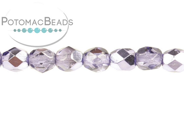Czech Faceted Round Beads - Violet Metallic Ice 3mm