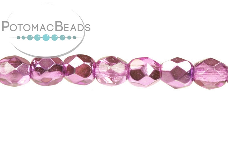 Czech Faceted Round Beads - Flamingo Metallic Ice 3mm
