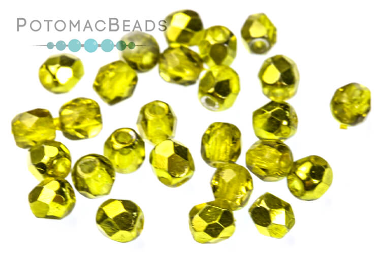 Czech Faceted Round Beads - Citron Metallic Ice 3mm