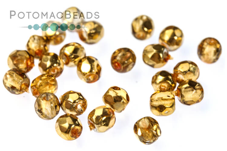Czech Faceted Round Beads - Apricot Metallic Ice 3mm