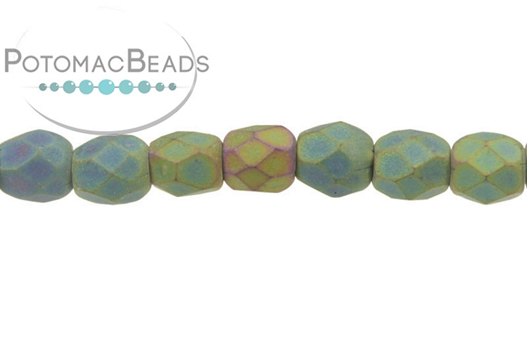 Czech Faceted Round Beads - Jet Matted Green Iris 3mm