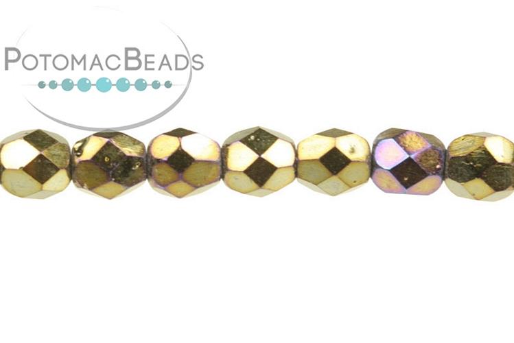 Czech Faceted Round Beads - Jet Brown Iris 3mm