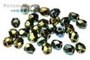 Czech Faceted Round Beads - Jet Green Iris 3mm