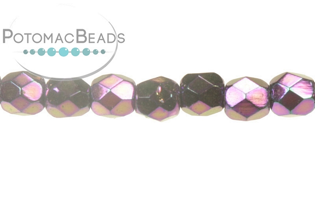 Czech Faceted Round Beads - Jet Purple Iris 3mm