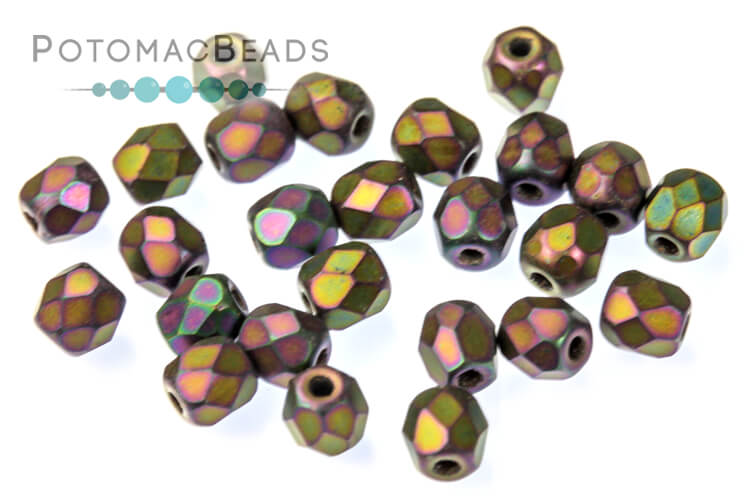 Czech Faceted Round Beads - Jet Matted Purple Iris 3mm