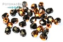 Czech Faceted Round Beads - Jet Sunset 3mm