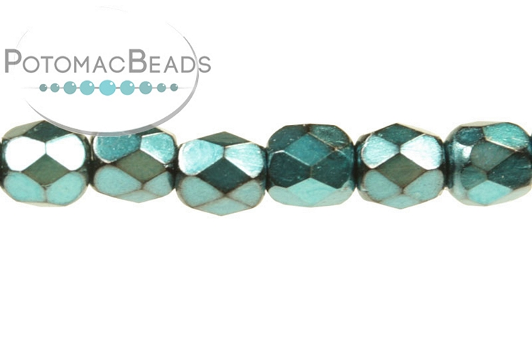 Czech Faceted Round Beads - Metallic Turquoise 3mm