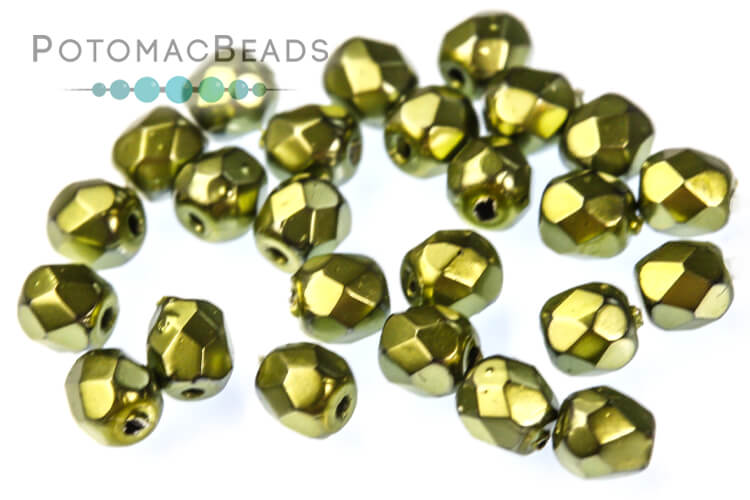 Czech Faceted Round Beads - Metallic Green Apple 3mm