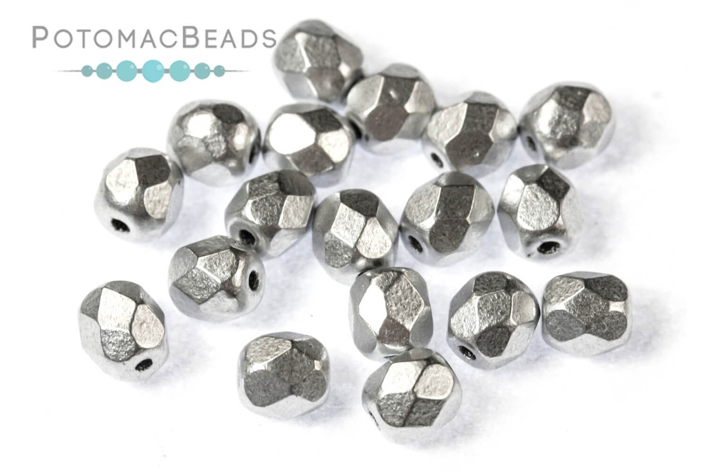 Czech Faceted Round Beads - Aluminum Silver 4mm