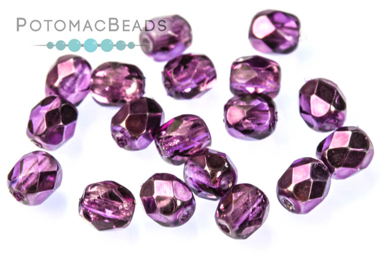 Czech Faceted Round Beads - Amethyst Metallic Ice 4mm