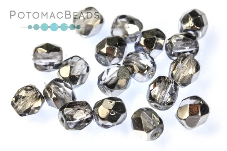 Czech Faceted Round Beads - Sky Metallic Ice 4mm