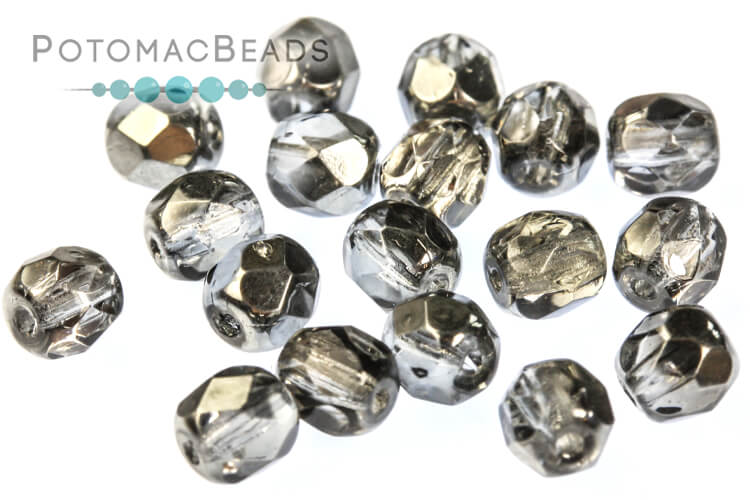 Czech Faceted Round Beads - Earthtone Metallic Ice 4mm