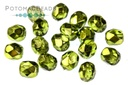 Czech Faceted Round Beads - Olive Metallic Ice 4mm